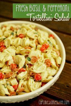 Fresh Basil and Pepperoni Tortellini Salad #sides #pasta #salad | cupcakediariesblog.com
