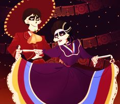 Hector and Imelda in Spanish dancing in Dia De Los Muertos from Coco