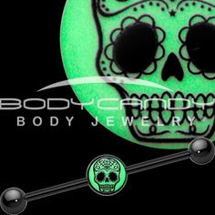 Glow in the Dark Sugar Skull Industrial Barbell in Black Titanium | Body Candy Body Jewelry