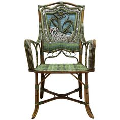 Rattan Armchair with Swan Decor, France, 19th Century | From a unique collection of antique and modern armchairs at http://www.1stdibs.com/furniture/seating/armchairs/