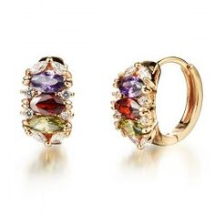SHARE & Get it FREE   Pair of Multicolored Rhinestone Charm EarringsFor…