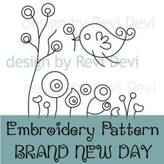 Brand New Day 15055 - Cute Hand Embroidery Pattern - PDF download - Whimsical design for home decor