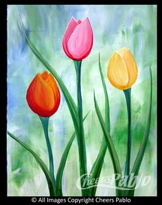 detailing Basic Acrylic Painting Techniques for Beginners Easter Paintings, Cute Canvas Paintings, Easy Canvas Painting, Simple Acrylic Paintings, Acrylic Painting Techniques, Canvas Art, Tulip Painting, Spring Painting, Painting & Drawing