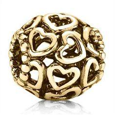 Pandora Charm Openwork Hearts Gold
