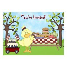 Cute Patriotic Bird Picnic Birthday Party Invitations