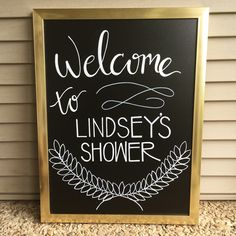 Boy Baby Shower decor. Chalkboard calligraphy. Black and Gold Shower. www.coachesdaughtersdesigns.com