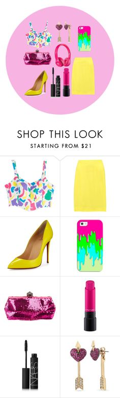 """""""Untitled #221"""" by katerinaso19 ❤ liked on Polyvore featuring Moschino, Marni, Christian Louboutin, Casetify, Roger Vivier, MAC Cosmetics, NARS Cosmetics, Betsey Johnson and Apple"""