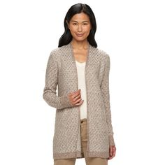 Women's Croft & Barrow® Marled Colorblock Cardigan, Size: Small, Brown