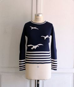 nautical striped navy applique sweater by bohemiennes on Etsy, $60.00