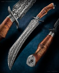 "Maker: Christopher Costa Website: costaknives.com Knife Name: ""Malachi"" Blade Length: 12"" Overall Length: 17.5"" Koa handle. Damascus blade & fittings. First forged blade. Silicon bronze spacers. Magnificent blade"