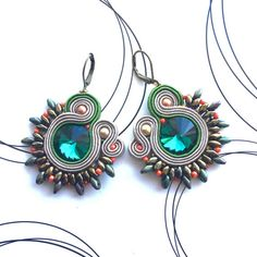 Soutache earrings, casual jewelry, soutache jewelry, earth colors, emerald earrings, spring accessories, orecchini soutache, Ohrringe