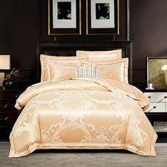 2019 New Luxury Silk Jacquard Duvet Cover set Queen king size Bedding Set Ultra Soft Cotton Bedsheet linen set Pillowcase King Size Bedding Sets, Duvet Sets, Duvet Cover Sets, Window Bed, Window Seats, Bed Linen Design, Home Decor Online, Cotton Duvet, Cozy Bed