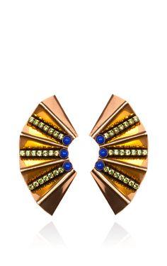 Shop Nicole Romano Gold Fan Earring by Nicole Romano for Preorder on Moda Operandi