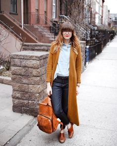 The best part about Spring is cozy cardigans without a jacket! Wearing this beautiful mustard one around Brooklyn.