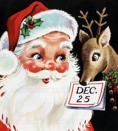 Santa and Reindeer Image Digital Download vintage transfer card holiday xmas vintage father Christmas St. Nick dec 25th deer calendar