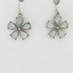 Flower drop earrings in a pale pastel blue - turquoise color Modest and pretty style floral pair They will add an unique dangling sophisticated look