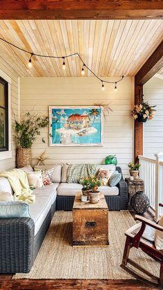 Small Backyard Design, Small Backyard Patio, Backyard Landscaping, Outdoor Balcony, Backyard Porch Ideas, Outdoor Spaces, Small Outdoor Patios, Beach Patio, Backyard Patio Designs