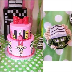PowerPuff girls party. and mojo jojo cupcakes. 3rd birthday party (my daughter's party)