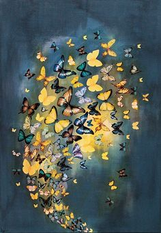 Butterflies on Grey and Yellow by Lily Greenwood www.lilygreenwood.com