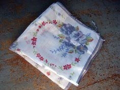 Vintage Handkerchief Blue & Red Flowers by TheBackShak on Etsy