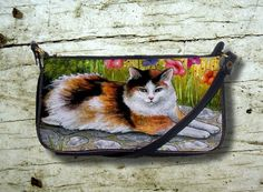 Small Clutch Bag Purse Cat 595 Tortieshell Tortoise shell art painting L.Dumas by artbyLucie on Etsy