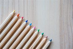 Colored Pencils in a Row #3 Free Stock Photo