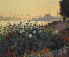 クロード・モネ《花咲く堤、アルジャンゥイユ》1877年ポーラ美術館蔵