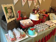 Little red wagon, first birthday, party, red, blue, vintage, macarons, sugar cookies, birthday cake, candy buffet