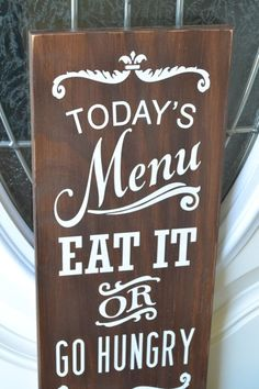 IN STOCK READY TO SHIP in Espresso shown! Please feel free to contact me with any questions before ordering   More Todays Menu signs: https://www.etsy.com/shop/CreativeTouchWood/search?search_query=todays+menu&order=date_desc&view_type=gallery&ref=shop_search    ~~~Solid wood sign measures approx. 7.5 x 18 x 1/2. NO Vinyl lettering or prints! All my signs are handmade, hand painted by me, so no 2 signs are exactly alike. ~~~Sign is...