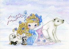 Kids Wall Art  Polar Princess  5 x 7 Print by Wishsongdesign, $12.00