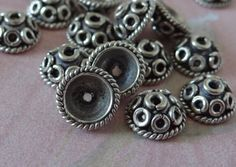 Bali style sterling silver bead caps 9 mm by NancyLynnDesigns