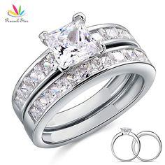 Peacock Sao Rắn 925 Sterling Silver Chiếc Wedding Engagement Ring Set 1 Ct Princess Cut Tạo Kim Cương Đồ Trang Sức CFR8020