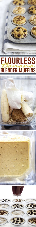 EASY flourless banana blender muffins