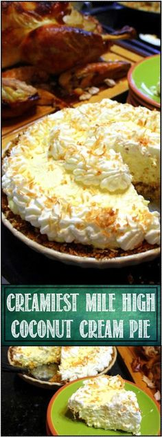 Creamiest Mile High COCONUT CREAM PIE (and Easiest) - 52 Holiday Cakes and Pies at Home. This Ohh and Aaahs inspiring cake is amazingly easy. Uses a box of pudding to help the custard filling come together. Adding a unique Salty/Sweet Pretzel crunchy cr Kokos Desserts, Köstliche Desserts, Delicious Desserts, Dessert Recipes, Yummy Food, Cake Recipes, Holiday Cakes, Holiday Desserts, Cream Pie Recipes