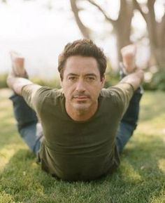 "I don't think this is what people mean by ""Hot Yoga."" Nonetheless, it is hot.  Let me help you RDJ.... Haha so great. I love both hot yoga and RDJ :)"