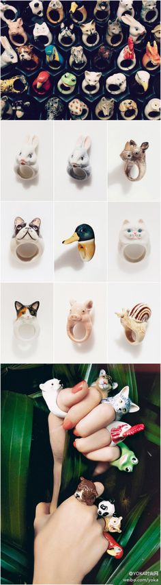 Porcelain animal rings from Nach.