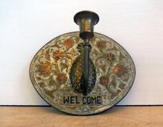 Vintage Brass Wall Sconce  Welcome Piece with by FourthEstateSale, $22.00