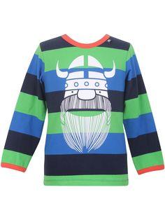 "#Danefae Sophie Tee ""Amphibian Erik"" - € 28,85 - Wikimo Kindermode, langarm Kinder Shirt, grün blau gestreift | wikimo.eu"