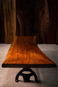 75cm average width x 2.24m in length This rare wood is from a fresh water lake in Panama, submerged underwater for decades. Finished in a NC special coating system and antique wax polish. Price is $3400 including our custom designed bases in wood or our cast iron collections.