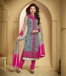 Buy Grey net embroidered semi stitiched salwar with dupatta party-wear-salwar-kameez online