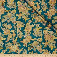 Kaufman La Scala 7 Metallic Bouquet Jewel from @fabricdotcom  From Robert Kaufman, this cotton print fabric features a beautiful, ornate design that reminds us of those found on kimonos. Perfect for quilting, apparel and home decor accents. Colors include metallic gold, shades of blue and green, pink, pale pink, wine, mustard and shades of brown.