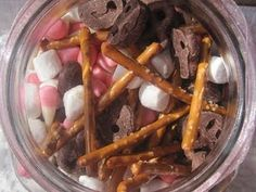 Easter Bunny trail mix:   bunny noses-pink jelly beans;  cotton tails-mini marshmallows;  whiskers-pretzel sticks;  ears-pink & white candy corn;  muddy paws-mini chocolate pretzels.