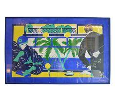 Gouache painting of the Blue Train Signed Balenciaga
