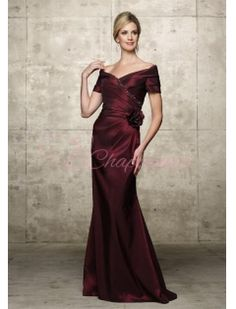 A Line Off The Shoulder Sweep Floor Length Taffeta Beading Flower Mother Of The Bride Dress