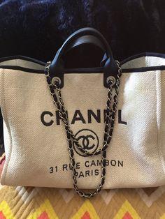 27e6ed0d449c65 chanel deauville tote #chaneltote #chaneldeauvilletote #deauvilletote # Chanel Fashion Handbags, Luxury Handbags