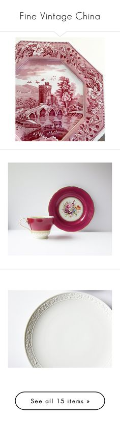 """Fine Vintage China"" by jarmgirl ❤ liked on Polyvore featuring home, kitchen & dining, dinnerware, spode, spode plates, spode dinnerware, spode dinner plates, drinkware, vintage tea cups and red tea cups"