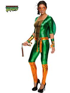 cowabunga into halloween in the officially licensed teenage mutant ninja turtles michelangelo jumpsuit adult womens costume this sleek and shiny costume
