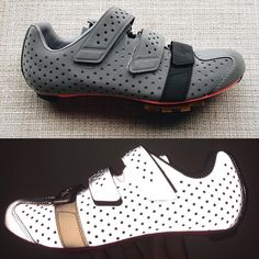 The @rapha_rcc Climbers shoe. In all its reflective glory. top: @deancycle bottom: @joshuarogers