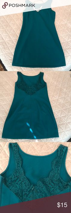 Little teal dress!! Teal fitted dress. Low cut scalloped lace back. Great for a night out!! one clothing Dresses Mini