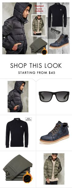 """""""Perfect Puffer Jackets #4"""" by ruzi-78 ❤ liked on Polyvore featuring 21 Men, Ray-Ban, STONE ISLAND, men's fashion, menswear and puffers"""